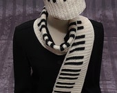 RESERVED FOR DAVID Piano Scarf Hat Set Pianokeys Unisex Gift For Her Him Keyboard Reversible Crocheted Handmade White Black Wool Yarn Ooak