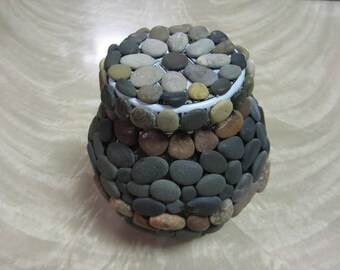 Mosaic Stone Covered Storage Jar with Tight Fit Lid Handcrafted Stone Craft Lake Michigan by CS Alexis