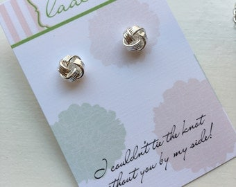Tie the Knot Earrings, Silver Knot Earrings Love Knot Stud Earrings Dainty Bridesmaid Gift Knot Jewelry Silver Stud Earrings Bridesmaid Earr