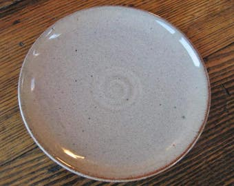 """Grey Gray 5.5"""" Plate Rowantrees Pottery Blue Hill ME Hand Signed in Blue 1946-1950"""