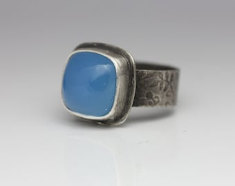 Blue Onyx Ring, Sterling Silver Ring, Sky Blue Gemstone, Cushion Cut, Size 6.25