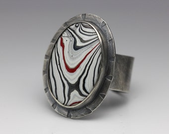 Fordite & Sterling Ring, Unique Statement Ring, Black Red White Silver, Adjustable Ring, Unisex Ring, Size 9.25 - 11.25