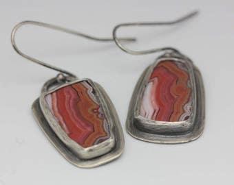 Montana Dryhead Agate Earrings, Agate & Sterling Earrings, Asymmetrical Earrings, Natural Gemstones, Artisan Earrings