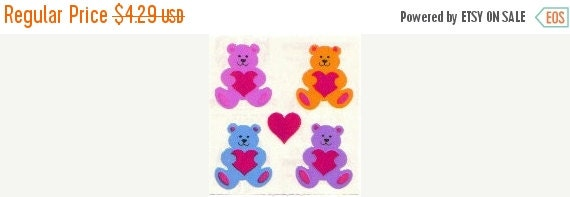 ON SALE Vintage Sandylion Pearl Finish Teddy Bears and Hearts Sticker Mod - 80's Opal Rainbow Bear Love Iridescent