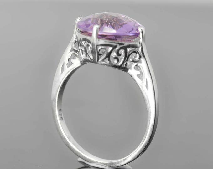 Amethyst Ring, 5 ct, Purple, round Cut, Birthstone Ring, February, Gemstone Ring, Sterling Silver Ring, Solitaire Ring, Statement Ring
