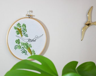 Hand embroidery, interior decoration,illustration, monstera, plant, swimmer