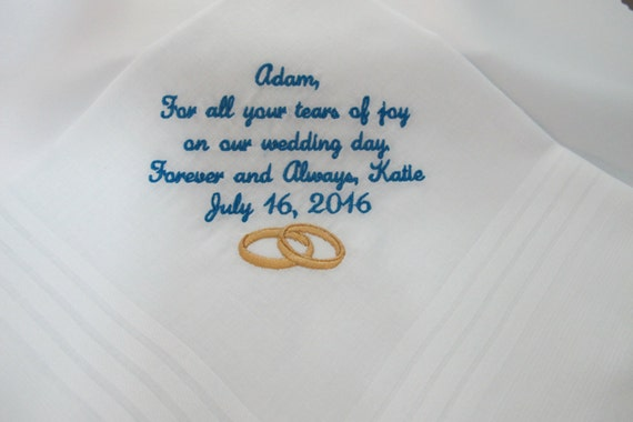 Embroidered Wedding Handkerchief Personalized for the Groom