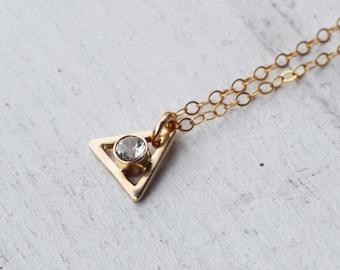 14K Gold White Topaz Gemstone Triangle Necklace, Delicate Gold Stone Necklace, Geometric Necklace, Gemstone Necklace, Gold Necklace