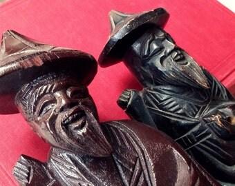 Vintage Wise Men Figurines, Old Chinese Men Figurine, 2 Wise Men Sculptures Dark Brown, Ethnic Chinese Figurines, Asian Wood Wise Men