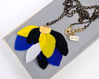Black Yellow White Feather statement necklace by Pardes