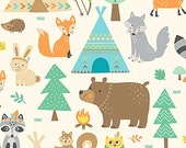 FLANNEL - Teepee Time Main Print from Northcott's Teepee Time Collection by Deborah Edwards