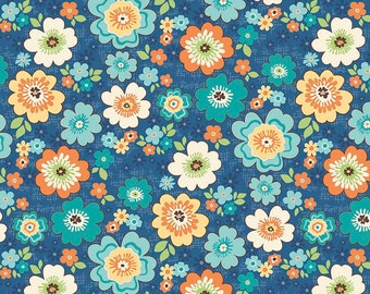Flowers on Blue from Riley Blake's Road Trip Collection by Kelli Panacci