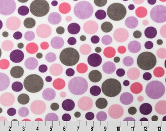 Lilac/Hot Pink Bubble Dot Minky From Shannon Fabrics