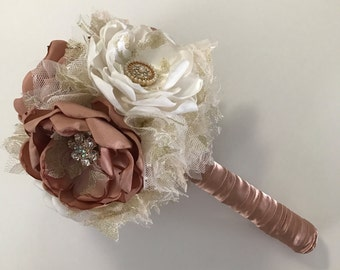 Rose Gold, Gold and Cream Bouquet - Choose Your Size - Fabric Bouquet, Fabric Flowers, Pink Gold Wedding, Fabric Wedding Flowers, Bridal