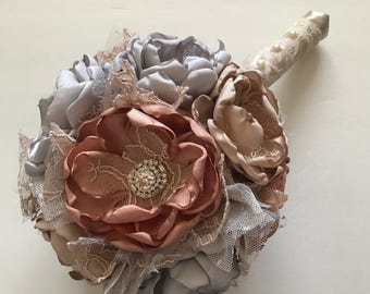 Fabric Bouquet - Champagne Gold, Rose Gold and Silver Bridesmaid Bouquet - Metallic Wedding, Gold, Rose Gold, Silver, Heirloom Bouquet