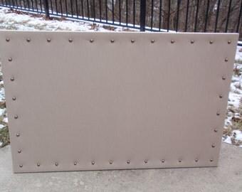 Cork Board Dream Pin Corkboard Bulletin Message Dream 23x35 Khaki / Tan Color Cotton Blend Fabric Aged Bronze Nail Heads Choice of Hanging