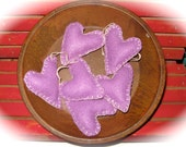 Primitive Valentine Small Purple Heart Ornament Set of Six Ready To Ship