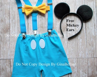 Mickey Mouse outfit Birthday cake smash Blue suspenders Yellow bow tie FREE Ears clubhouse SHORTS invitation photo 12 18 24 toddler