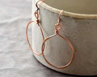 Hoop Mamas - hammered copper Earrings, 1 Pair select size