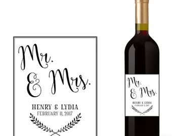 Wedding Wine Bottle Labels with Mr. & Mrs.