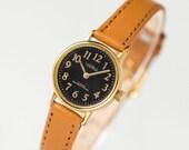 Black women's watch Dawn, gold plated watch minimalist, black face lady's watch, classic woman wristwatch gift, genuine leather strap new