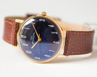 Unique men's watch Ray, slim men wristwatch gold plated AU 10, navy face dress watch, unisex watch gift, premium leather strap new