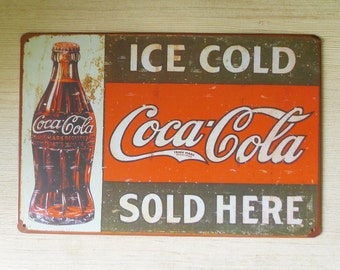 Retro Style Ice Cold Coca Cola Tin Sign, Metal Advertisement, Store Sign, Restaurant Metal Sign Display, Decorative Tin Sign, Collectible