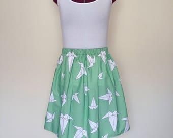 Green Origami Crane Skirt
