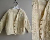 Vintage Hand Knit Cream Baby Toddler Sweater Cable Knit Wood Buttons - 2-3 y