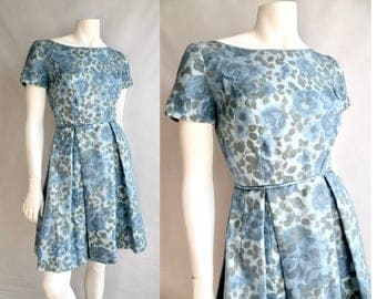 50s Floral Short Sleeve Dress Blue a Roses Pleated Skirt - XS