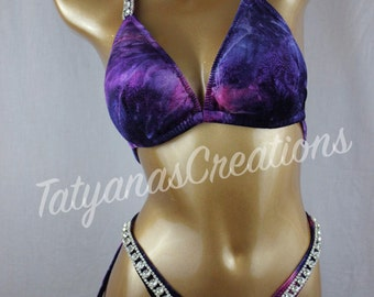 In Stock : Dark Purple/Pink Glitter Antique Velvet Figure suit C cup, Small bottom.