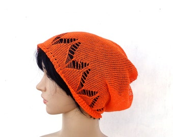 Knit linen hat, knitted summer beanie, natural linen slouchy, knitting lace hat, women men tam, orange hat, flax sun hat, accessories