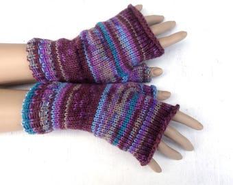 Fingerless gloves, knit colorful gloves, women arm warmers, striped fingerless mittens, winter gloves, spring wrist warmers, boho gloves