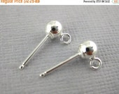 10% Sale Gemshow Sterling Silver Ball Earrings Stud with Ring -5 PAIR (S35-B1-13)