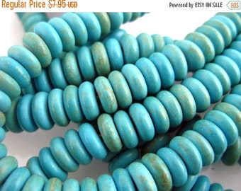 10% off Halloween SALE Disk Beads-- Turquoise Howlite Disk Beads -- FULL STRAND (Bb-194)