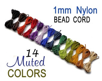 Nylon Bead Cord - Set of 14 Muted Colors - 1mm Nylon Cording - for Bracelets, Micro Macrame Jewelry, Beading
