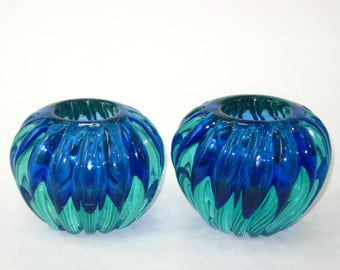 Archimede Seguso Murano Pair Uranium Sommerso Swirl Ribbed Votive Candle Holder Bowls Blue Green