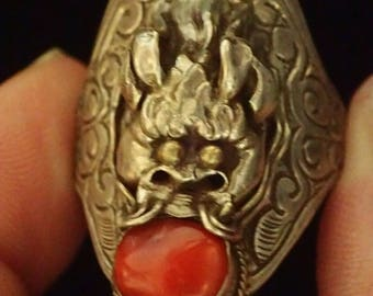 Sterling Silver Dragon with Amber Ring  Sz 12.25
