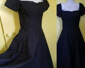 50s Black Eyelet Full Circle Swing Off Shoulder Dress S