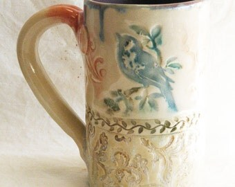 blue bird on a branch ceramic coffee mug 16oz. stoneware 16B077