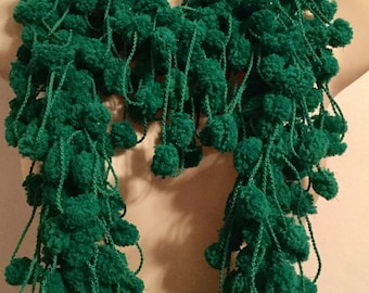 Plethora of Pom Poms Scarf/Boa --Green