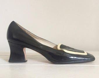 Prada / Spectator Shoes / 90s / Designer / Block Heel / Made in Italy