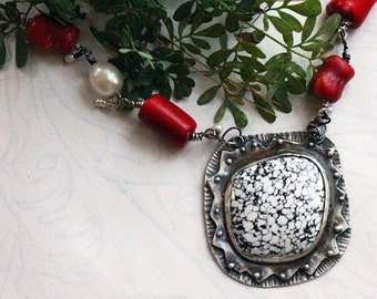 Silver White Horse Variquoise, Coral and Pearl Necklace