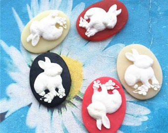 10pc 25x18mm assorted resin rabbit oval cabochon/cameo charms