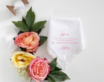 Wedding Handkerchief for Mother of the Bride.  Handkerchief your choice of COLOR TEXT Mother of the Groom Mother in Law printed hanky