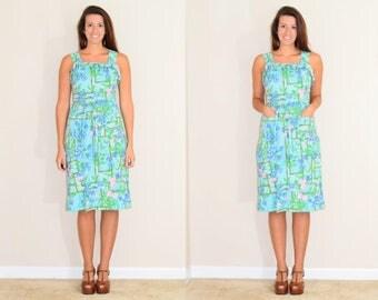 Vintage Hawaiian Print Summer Dress