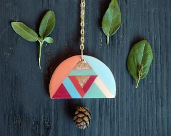 Geometric wood necklace,color block,long wooden necklace,colorful pendant necklace