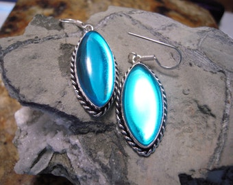 PRE-HOLIDAY SALE...Teal Blue Topaz Earrings From Brazil...Set In 925 Sterling Silver