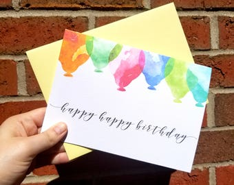 Happy Happy Birthday Single Greeting Card with Matching Yellow Envelope