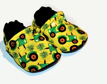 Tractor baby shoes farm baby booties boy or girl shoes vegan moccs non slip shoes rubber soles gender neutral baby shoes toddler shoes